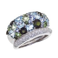 BRUMANI #Diamond Ring - 18K Gold, Blue Topaz Green Beryl - #modern #jewelry #design