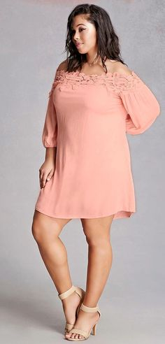 JUST IN!! Stitch Fix Plus Size fashion! 2017 fashion trends up to size 24W & 3XL. Have your own personal stylist picke items just for you & delivered to your door. No stress shopping in stores! #sponsored #stitchfix Plus size - Beautiful blush long sleeved off the shoulder just above knee length dress.