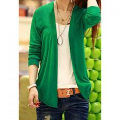 Ladylike Long Sleeve Solid Color Cardigan For Women