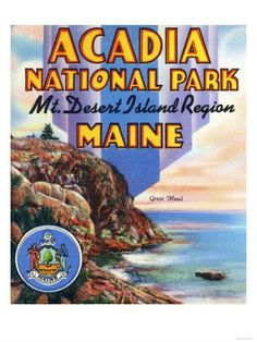 Print (Acadia National Park, Maine - Large Letter Scene, View of Great Head and Maine Seal - Vintage Poster) Acadia National Park Camping, Grand Canyon Camping, National Park Posters, Us National Parks, Camping In Maine, Beach Camping, Camping San Sebastian, Desert Island, Large Letters