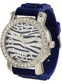 Navy Zebra Silicone Band Watch w/ Diamond Bezel
