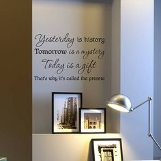 """YESTERDAY IS HISTORY Home Vinyl Wall Art Decal Decor Lettering Words 36/"""""""