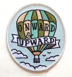 Onward & Upward Patch An embroidered patch to sew or iron onto almost anything for some positive vibes! Adapted from an original hand-drawn Cute Patches, Pin And Patches, Iron On Patches, Jacket Patches, Sew On Patches, Badges, Embroidery Patches, Embroidered Patch, Patch Design