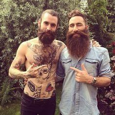 Jimmy Niggles and Ricki Hall together - full thick dark beards beard bearded man men mens' style mustache mustaches tattoos tattooed bushy handsome bearding #beardsforever #beardsunited