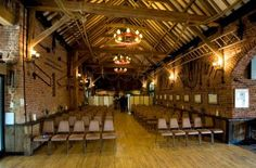 Inside, where you can see the hall is set up for a wedding #building #wedding #events #beautiful #rustic #charming #people #norfolk #norwich #england #inside