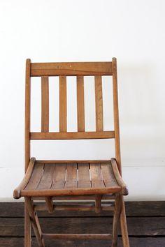 Vintage folding chair // wood slat folding chair // the camp chair (x2)