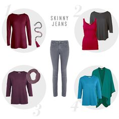 Outfit 1 - Merino Tunic in deep claret, Tassel Necklace in pink mulberry sparkle  Outfit 2 - Tasha Top in charcoal, Long Vest Top in raspberry  Outfit 3 - Davina Tee in fig, Florence Infinity Scarf in grey plum  Outfit 4 - Davina Tee in dutch blue, Alpaca Shawl in mallard