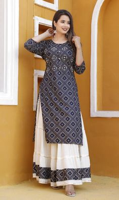 Indian Bollywood Blue Crepe Women's Kurta kurti Skirt For Summer Collection Designer Party Wear Dresses, Kurti Designs Party Wear, Indian Designer Outfits, Indian Outfits, Simple Kurta Designs, Kurta Designs Women, Indian Gowns Dresses, Pakistani Dresses, Kurti Skirt