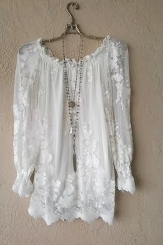 Image of Gypsy Bohemian Lace off shoulder tunic