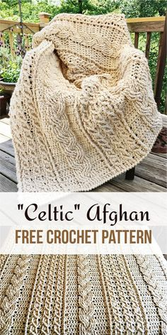 Celtic afghan is one of the most awesome crochet project. - - Celtic afghan is one of the most awesome crochet project. Today we found for you this amazing Celtic Afghan. It is ideal for long winter evenings. Crochet Afghans, Motifs Afghans, Afghan Crochet Patterns, Crochet Stitches, Knitting Patterns, Knit Crochet, Crochet Blankets, Crochet Cable Stitch, Baby Blankets