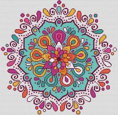 MANDALA 1 Cross Stitch Pattern PDF Colorful Mandala | Etsy Cross Stitch Geometric, Small Cross Stitch, Cross Stitch Art, Cross Stitch Borders, Modern Cross Stitch Patterns, Cross Stitch Designs, Cross Stitching, Cross Stitch Embroidery, Mandala Coloring
