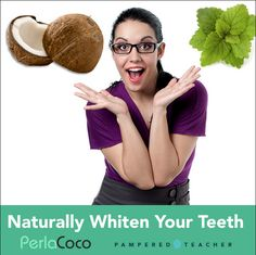 Add White Teeth and a Healthy Smile to your morning routine! www.Perlacoco.com