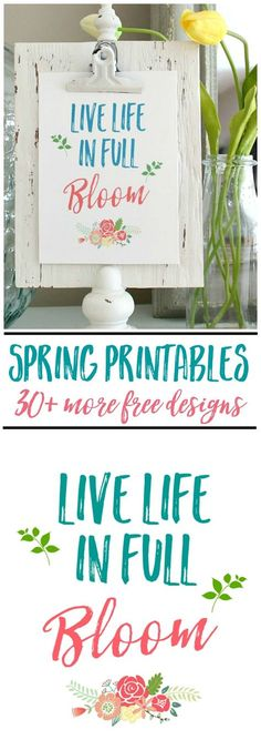 Beautiful collection of free spring printables and spring vignette ideas.