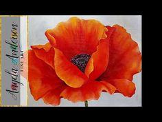 RED POPPY Acrylic Painting Georgia O'Keeffe Inspired Tutorial LIVE Beginner Blending Lesson - YouTube