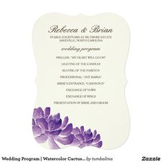 Wedding Program | Watercolor Cactus Orchids 5x7 Paper Invitation Card