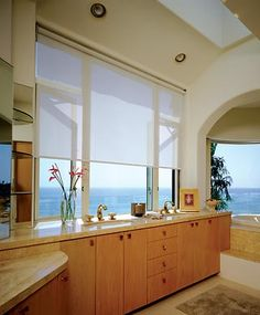 Breathtaking view from the bathroom.    Pinned by Budget Blinds (www.BudgetBlinds.com)