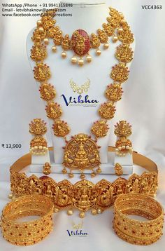 lakshmi haram set liked Saree Jewellery, Temple Jewellery, Indian Wedding Jewelry, Bridal Jewelry, Gold Jewellery Design, Gold Jewelry, Gold Bangles, India Jewelry, Jewelry Patterns