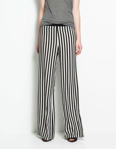 PALAZZO TROUSERS - Trousers - ZARA - Black & White Striped Pants Beetlejuice Style, I likey.