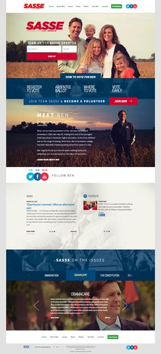 Ben Sasse for Senate website redesign after his primary election.