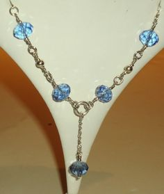 Blue Crystal Necklace Silver Jewelry Lariat Jewellery by cdjali, $20.00
