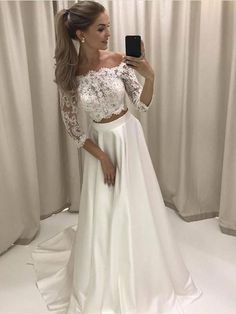 A-line/Princess Lace Bodice 3/4 Sleeves Two Pieces Simple Wedding Dresses APD3033