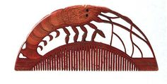 Carved ivory lobster comb Torubeni dyed lacquer comb Takara 尽文