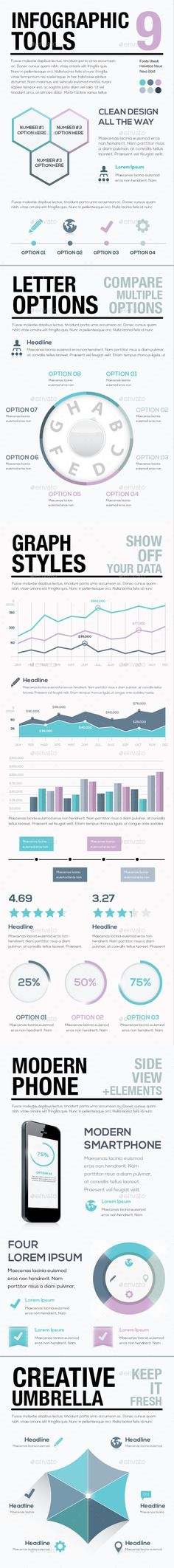 Infographic Tools 9 — Vector EPS #statistics #demographics • Available here → https://graphicriver.net/item/infographic-tools-9/9262811?ref=pxcr