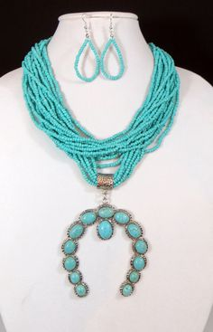Cowgirl Bling Western HORSESHOE Squash Blossom Faux TURQUOISE Bead necklace set
