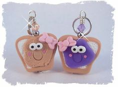 "Polymer Clay Cute PB&J Charm set, would be cute for ""best friends"" necklaces"