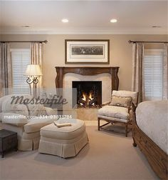 I also like a nice sitting area with fireplace. Neutral Bedrooms, Luxurious Bedrooms, Modern Bedroom, Master Bedrooms, Master Suite, Master Bathroom, Blue Gray Bedroom, Bedroom Colors, Chair And Ottoman