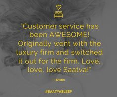 """Customer service has been AWESOME. Originally went with the luxury firm and switched it out for the firm. Love, love, love Saatva!"" — Kristin #SaatvaSleep #SaatvaMattress #SaatvaMattressReviews"