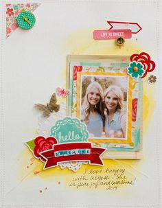 Hello Sunshine layout by Diane Payne featuring Jillibean Soup Summer Red Raspberry Soup and Happy Hues