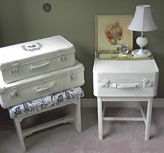 Vintage suitcases are a great upcycle project! Old suitcases add a feeling of history to a room. As a bonus, they provide storage as well and are just plain looking awesome! You can stack them. Matched or mismatched; they make a great coffee table or display table. (Dig This Design On Pinterest) Where to find... Read More
