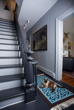 I think this is what I'd like to do with our stairwell – a charcoal gray banister and steps with white risers – staircase Grey Hallway, Upstairs Hallway, Hallway Paint, Painted Staircases, Painted Stairs, Spiral Staircases, Wood Stairs, White Staircase, Staircase Design