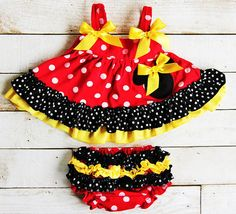 Red/Yellow Minnie Mouse Inspired Swing Top Bloomer Set - Get it With or Without…