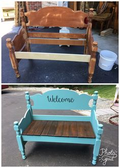 antique twin bed repurposed in garden/porch bench painted with annie sloan provance seat pallets stained knoa Diy Furniture Projects, Refurbished Furniture, Repurposed Furniture, Furniture Makeover, Cool Furniture, Painted Furniture, Old Headboard, Headboard Benches, Headboards For Beds