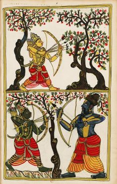 Vishwamitra teaches Rama and Lakshmana to handle weapons. Album 132 illustrations of Ramayana. Masulipatam (Andhra) and Karaikal (Tanjore), between 1727 and 1758