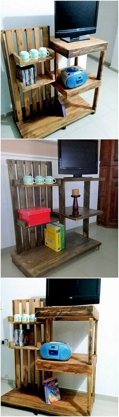TV stand design from wood pallet for your living room or the lounge areas is somehow coming out to be one of the favorable option these days in so many house makers. Have a look at this wood pallet TV stand design! This do introduce the arrangement of wood pallet framework in the variations of the stylishness.