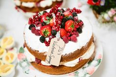 Wonderful victoria sponge with fresh berries and cream