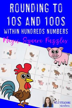 Rounding to the Nearest 10 and 100 within Hundreds Games or Math Centers Magic Squares, Fast Finishers, Teacher Resources, Teaching Ideas, Number Puzzles, 4th Grade Classroom, Math Books, Math Workshop, Math Skills