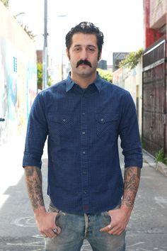 Stevenson Oblique Half-Sleeve Indigo Shirt