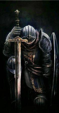 Tattoos Discover Art of Dark Souls: Photo Fantasy Armor, Medieval Fantasy, Dark Fantasy Art, Dark Art, Medieval Knight, Arte Dark Souls, Crusader Knight, Christian Warrior, Warrior Tattoos