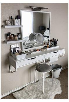 Bedroom Makeup Vanity, Makeup Table Vanity, Makeup Room Decor, Vanity Ideas, Vanity Tables, Vanity Room, Makeup Desk, Wall Mounted Makeup Vanity, Small Bedroom Vanity