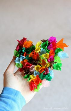 Love these beautiful kid-friendly tissue paper hearts.