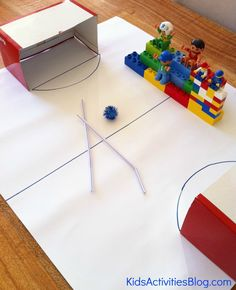 Pom Pom Hockey Game - blowing through a straw helps develop oral motor control. Speech therapy activity that is perfect for the Winter Olympics! Indoor Activities, Learning Activities, Activities For Kids, Crafts For Kids, Kids Diy, Oral Motor Activities, Sport Themed Crafts, Theme Sport, Soccer Games