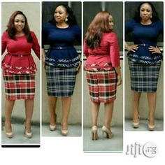Classy corporate peplum top and skirt ,available in various colours Short African Dresses, African Print Dresses, African Wear, African Fashion Dresses, Fashion Outfits, Checkered Outfit, Smart Outfit, Leopard Dress, Dress Suits