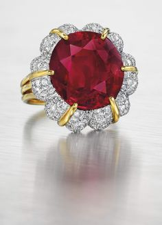 NEW YORK CITY — Christie's recorded the sale of the most expensive colored gemstone sold at auction in the United States on April 20 as the Jubilee Ruby, a Gemstone Colors, Heart Ring, Objects, Auction, Jewels, Gemstones, Antiques, Red, Beauty