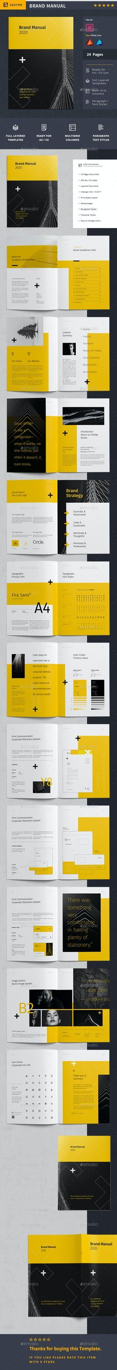 Minimal and Professional Brand Manual and Identity Brochure template for creative businesses, created in Adobe InDesign, Affinity Publisher and Affinity Designer. Formats are prepared in International DIN A4 and US Letter format. This Brand Manual Template features: A4 size : 297×210 mm + 3 mm Bleeding US Letter size : 8.5×11 inch + 3 mm Bleeding CMYK @ 300 DPI – Print-ready Adobe InDesign for CS4, CS5, CS6 #brochure #Brochure #template #Brochures #Layout #Sample #Modern #Creative #Ideas… Corporate Fonts, Corporate Brochure, Corporate Design, Free Brochure, Brochure Design, Brochure Template, Brand Guidelines Template, Design Guidelines, Brand Manual
