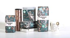 Awesome design packaging to Starbucks Anniversary Blend with coffee beans from Indonesia