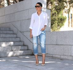 The Spring EditTarget Cotton Oversized Shirt , Life & Style Ripped Boyfriend Jeans | Tony Bianco Heels Fashion By Style Me Yesterday